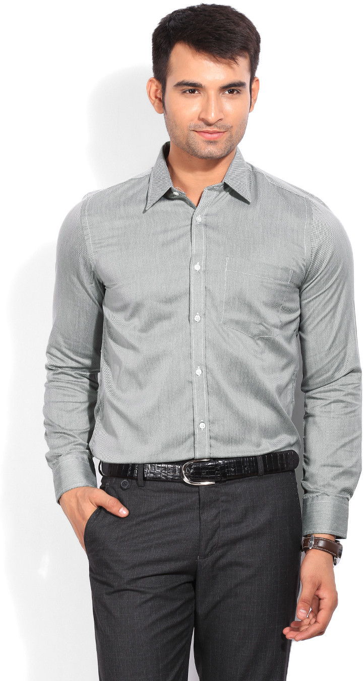 London Bridge Men's Solid Formal Grey Shirt