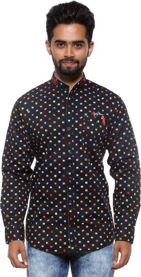 FIFTY TWO Men's Printed Casual Black Shirt
