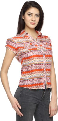 Texco Garments Women's Printed Casual Orange Shirt