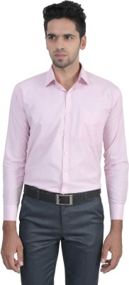 ManQ Men's Solid Formal Pink Shirt
