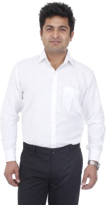 Aces Blue Men's Solid Formal Linen White Shirt