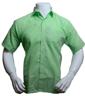 Qube Men's Solid Formal Green Shirt