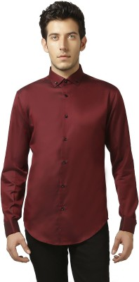 Karsci Men's Solid Casual Maroon Shirt