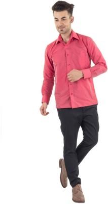 Warrior Men's Self Design Casual Red Shirt