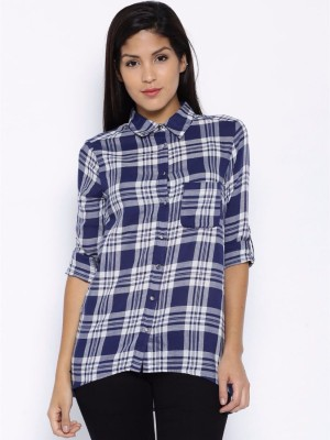 Silly People Women's Solid Casual Blue Shirt