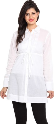 Nvl Women's Solid Casual White Shirt
