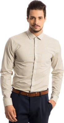 Specimen Men,s Checkered Formal Yellow Shirt