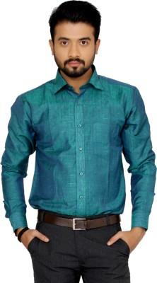 Indian Weller Men's Self Design Casual Green Shirt