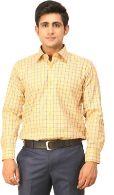Seven Days Men's Checkered Formal Yellow, Blue Shirt