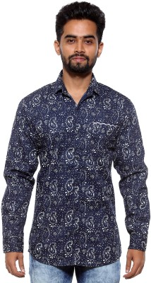 FIFTY TWO Men's Printed Casual Blue Shirt