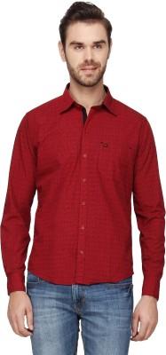Cross Creek Men's Checkered Casual Maroon Shirt