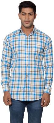 Tabser Men's Checkered Casual Light Blue Shirt