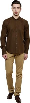 Flutter Men's Solid Casual Brown Shirt