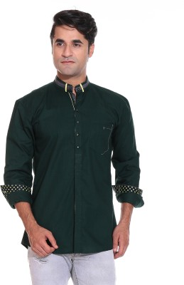 Rebel Men's Solid Casual Green Shirt