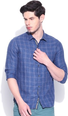 United Colors of Benetton Men's Checkered Casual Linen Blue Shirt