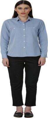 Baba Rancho Women's Solid Casual Denim Light Blue Shirt