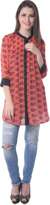 Florrie Fusion Women's Graphic Print Casual Red Shirt