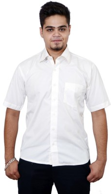 Side Effects Men's Solid Casual White Shirt