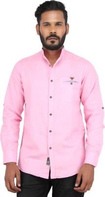 Piazza Italya Men's Solid Casual Pink Shirt