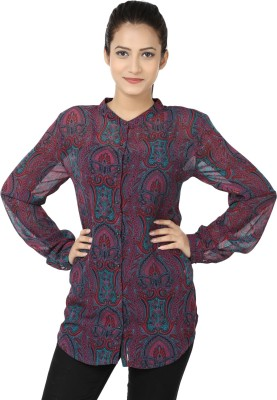 Adhaans Women,s Printed Casual Purple, Green Shirt