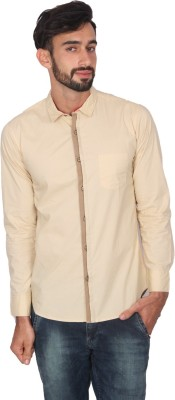 Ashford Brown Men's Solid Casual Beige Shirt