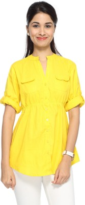 Francisca & Dominique Women's Solid Casual Linen Yellow Shirt