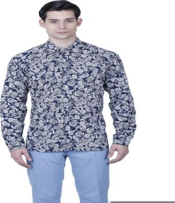 Baba Rancho Men's Paisley Casual Dark Blue Shirt