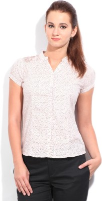 STYLE QUOTIENT BY NOI Women's Printed Formal White, Pink Shirt