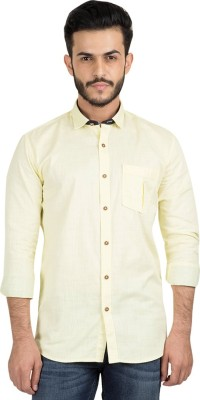 British Club Men's Solid Casual Yellow Shirt