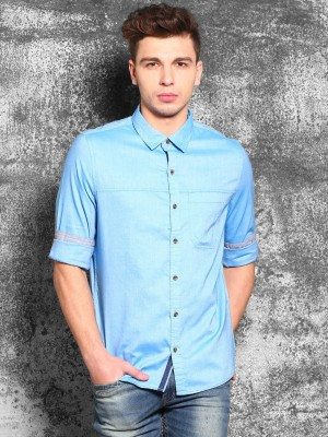 WROGN Men's Solid Casual Blue Shirt