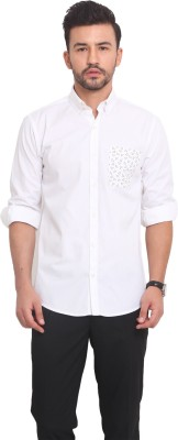 Exitplay Men's Solid Casual White, Black Shirt