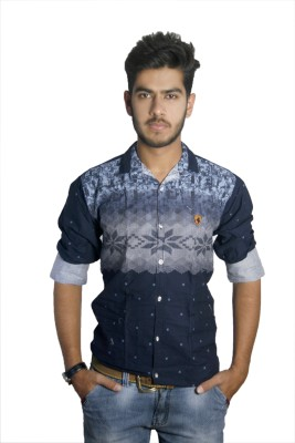 Live Green Men's Printed Casual, Party Dark Blue Shirt