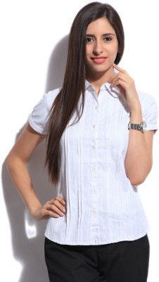 STYLE QUOTIENT BY NOI Women's Striped Formal White Shirt
