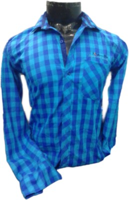 SPYKEY Men's Self Design Casual Blue Shirt