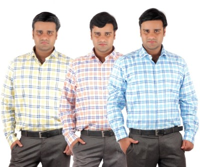 RIPARV Men's Checkered Formal Blue, Orange, Yellow Shirt