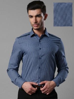 Invictus Men's Self Design Formal Dark Blue Shirt