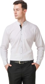 Elepants Men's Solid Casual White Shirt