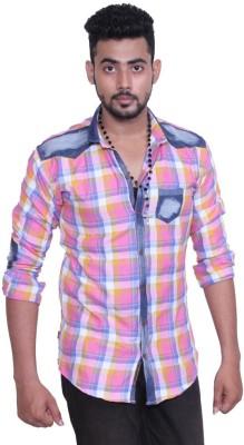Austrich Men's Checkered Casual Pink Shirt