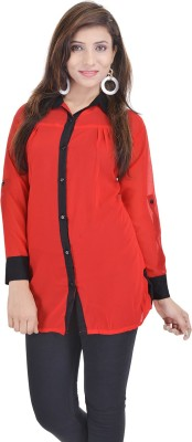 Soundarya Women's Solid Casual Red Shirt