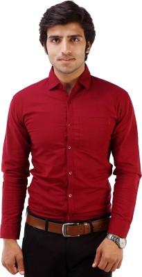 Deeksha Men's Solid Casual Red Shirt