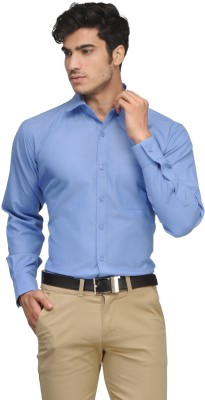 Vicbono Men's Solid Formal Blue Shirt