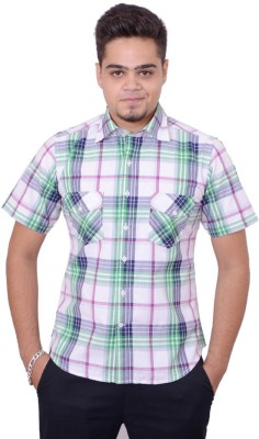 Side Effects Men's Checkered Casual Green Shirt