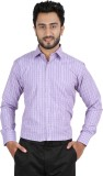 Hippoolife Men's Checkered Formal Purple...