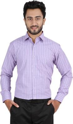 Hippoolife Men's Checkered Formal Purple Shirt