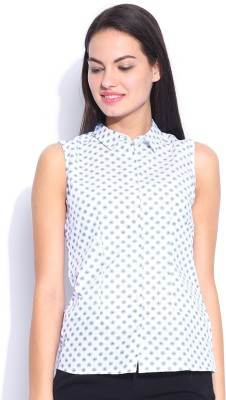 Mast & Harbour Women's Printed Casual White Shirt
