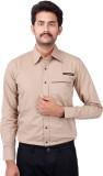 Fbbic Men's Solid Formal Brown Shirt