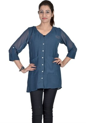 Indicot Women's Solid Casual Blue Shirt