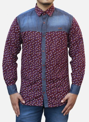 Yzade Men's Printed Casual Maroon Shirt