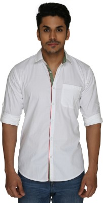 GoPlay Men's Solid Casual White Shirt