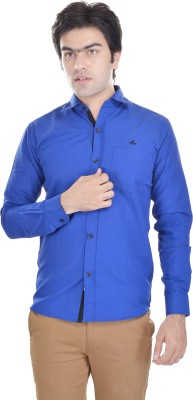 AD & AV Men's Solid Formal Blue Shirt